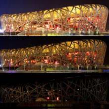 """北京:国家体育场""""鸟巢""""熄灯前后"""