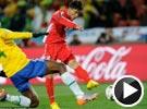 志尹南禁区接球抽射扳回一球 世界杯巴西VS朝鲜