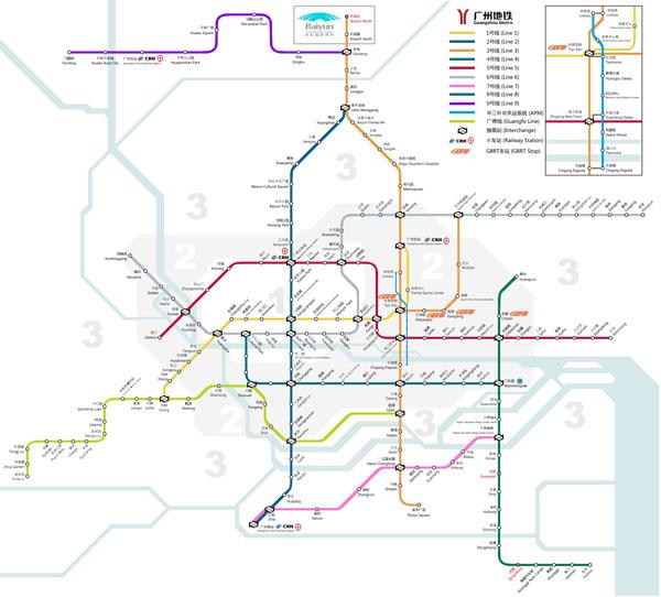 广州地铁线路图-广州交通介绍 线路四通八达 方便快捷到达各处图片