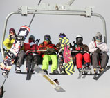 多乐美地滑雪缆车上,体验飞起来的感觉