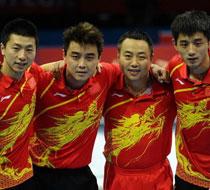 中国乒乓球男团夺冠