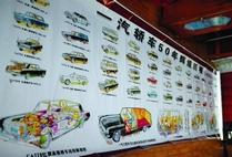 一汽厂成立五十周年时画的一张轿车全景图,包括东风、红旗等,由吕彦斌绘制