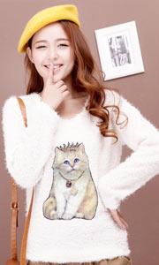 萌系猫咪修身毛衣