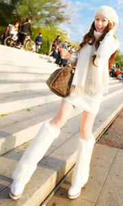 中长款长袖纯色针织连衣裙