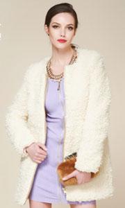 欧美米白羊羔毛绒外套