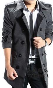 韩版修身中长款毛呢大衣