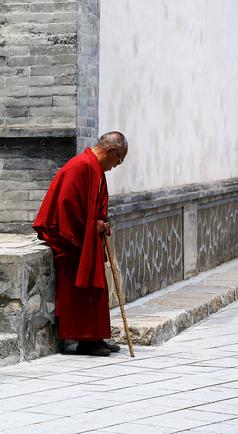 塔尔寺内虔诚的喇嘛