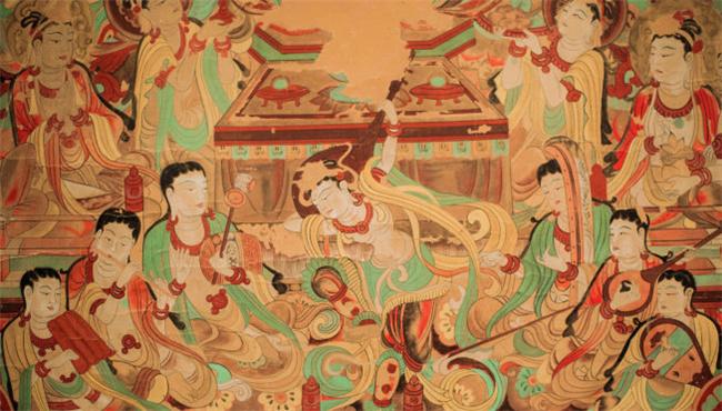 """""""敦煌壁画""""闻名天下,是世界遗产莫高窟和汉长城边陲"""
