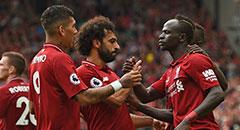 英超-利物浦4-0 萨拉赫握手马内